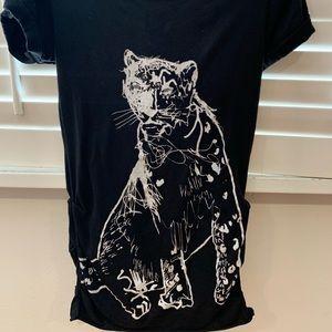 Rachel Roy Black Tunic with Animal Print